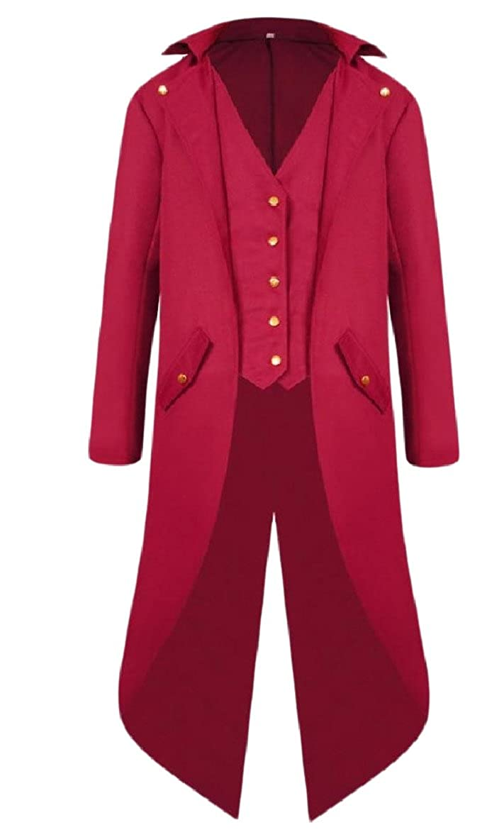 Zimaes-Men Mid Long Retro Swallowtail Buttoned Blazer Suit Coat