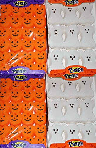 Halloween Peeps Marshmallow Candy Bulk Variety 4 Pack Ghosts and Pumpkins - 2 Ghosts and 2 Pumpkins by Peeps