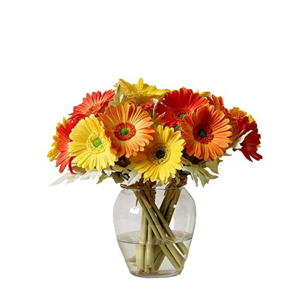 7PCS Real Touch PU Artificial Barberton Daisy Gerbera Daisy Flowers Bunch Bouquet Arrangements for Holiday Bridal Bouquet Home Party Decor Bridesmaid (Yellow)