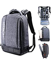 """K&F Concept Lightweight DSLR Camera Backpack, Waterproof Multipurpose Thickening Nylon Camera Bag for Canon Nikon Sony Fuji Cameras and Accessories with 13.3"""" Laptop Compartment Light Grey"""