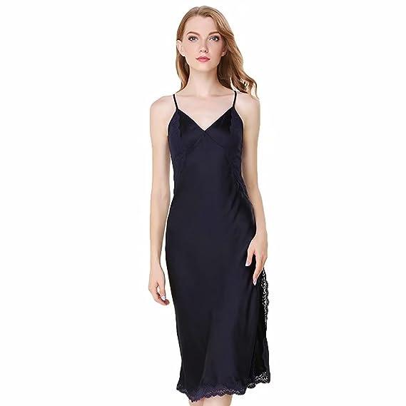 25946965df Women s Mother s Day Nightgown 100% Silk Sexy Lace Thin Nightwear Satin Lingerie  Pajamas Sleepwear High