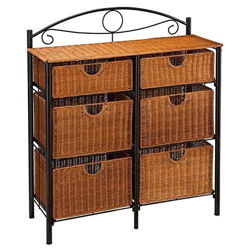 6-drawer Iron/wicker Storage Unit by .