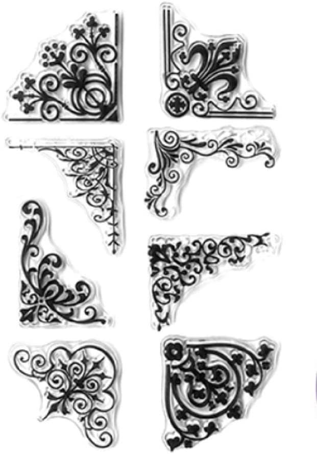 Forever in Time Clear Cling Rubber Stamp Floral Swirl Border Corners Set