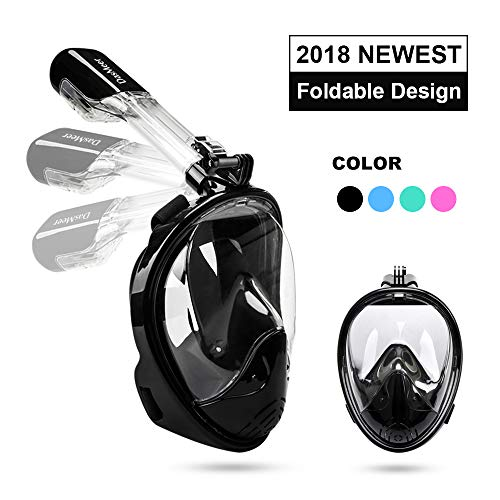 DasMeer Snorkel Mask 180 Panoramic Sea View Full Face Mask with Detachable Camera Mount Anti-Fog Anti-Leak Free Breath Scuba Mask Snorkel Set for Adults and Kids