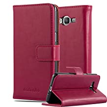 Cadorabo – Luxury Book Style Wallet Design Case for Samsung Galaxy GRAND PRIME with 2 Card Slots and Stand Function - Etui Case Cover Protection Pouch in WINE-RED