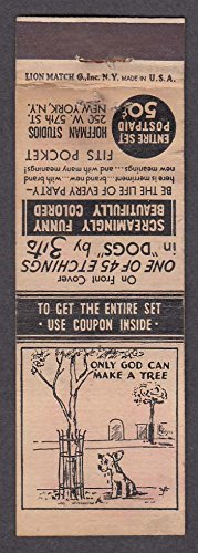 Hoffman Studios 250 W 57th St New York NY matchcover Only God Can Make A - 57th St York New