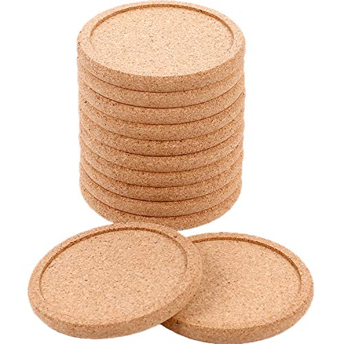 TecUnite 12 Pack Cork Coasters Round Absorbent Drink Coasters for Home Restaurant Office and Bar, 4 Inches ()