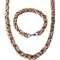 Mens Stainless Steel Silver Gold Mechanic Chunky Byzantine Chain Bracelet and Necklace Jewelry Set