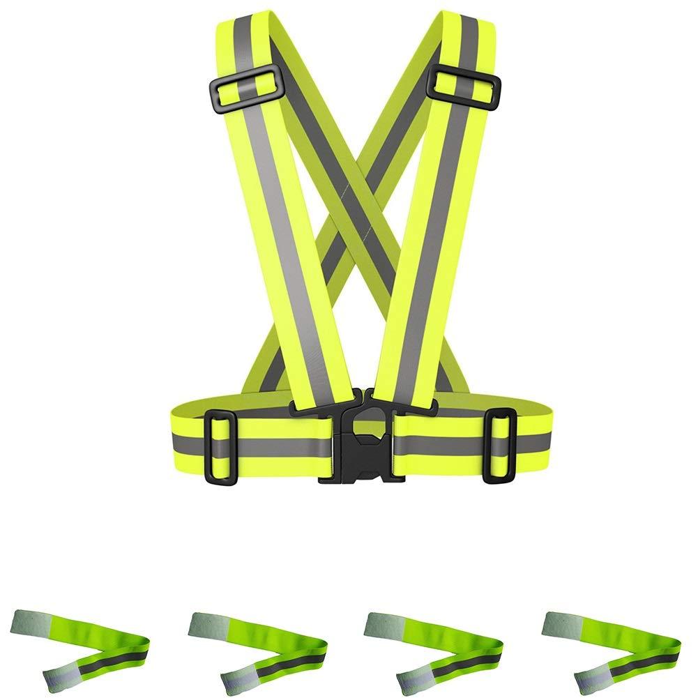 LNLW Reflektierende Weste (1 Packung) Laufbekleidung und reflektierende Bänder Satz reflektierende Bänder an den Armen und Knöcheln (4er-Packung)