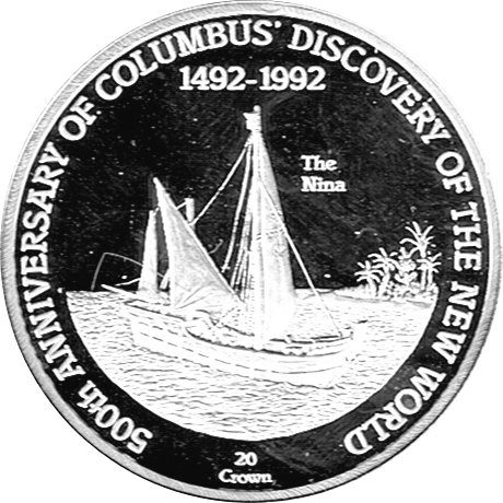 Die Sammlerwelt 20 Crown Gedenkmünze Turks & Caicos 500th Anniversary of Columbus Discovery of the New World PP, The Nina