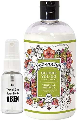 Poo-Pourri Before-You-Go Toilet Spray 16-Ounce Refill Bottle, Tropical Hibiscus, Includes Uben Travel Size, 1-Ounce Refill Bottle, (Berry Baskets For Sale)