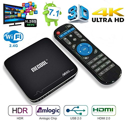 Android 7.1 TV Box, MaQue M8S PRO+ Amlogic S905X 64 bit Quad-core 2.4 WiFi 4K UHD Set-top Box