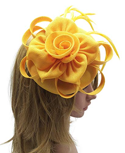 Biruil Women's Fascinator Hat Imitation Sinamay Feather Tea Party Pillbox Flower Derby (ZB Yellow)