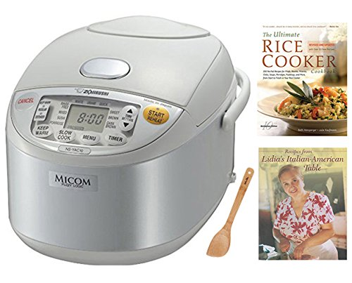 Zojirushi NS-YAC10 Umami Micom Rice Cooker and Warmer (Pearl White, 5.5 Cup Capacity) Bundle with Two Cookbooks & Spatula
