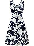 FENSACE Womens Summer Casual Flared Floral Midi Dress 180167 Medium