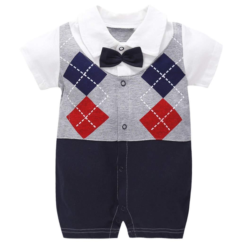 Baby Jungen Overall Gentleman Strampler Baumwolle Body Kurzarm Schlafanzug Neugeborenes Taufkleider 0-3 Monate