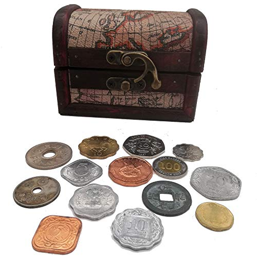 (World Coins - 14 Odd Coins from Around The World + Wooden Treasure Chest)