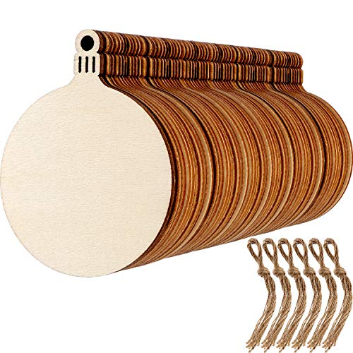 Blulu 60 Sets Round Wood Slices Blank Wood Discs Wood Baubles for New Year Valentines's Day Christmas Tree Pendant -
