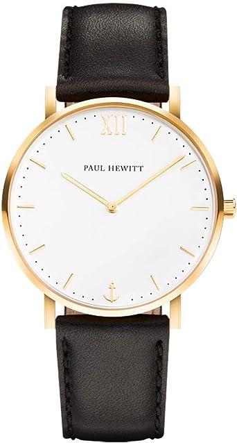 PAUL HEWITT Reloj de Caballero Sailor White Sand - Reloj de Hombre de Acero Inoxidable (Oro), Reloj de Pulsera para Hombre con Esfera Blanca y Correa de Cuero Negro: Amazon.es: Relojes