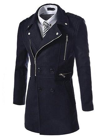 SMITHROAD Herren Trenchcoat lange Jacke Zweireihig Mantel Herbst Winter  Coat Outfit: Amazon.de: Bekleidung