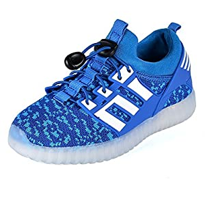New Boys Girls Kids LED Shoes Light Up Flashing USB Charging Sport Sneakers (Blue 4.5 M US Big Kid?