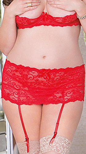 iCollection Lingerie Plus Size Lace Band Garter Belt, Plus Size Lace Garter Belt by iCollection Lingerie
