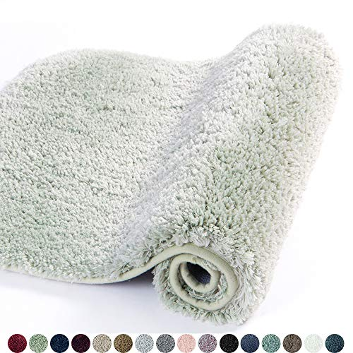 Walensee Bathroom Rug Non Slip Bath Mat for Bathroom (16 x 24, Pale Green) Water Absorbent Soft Microfiber Shaggy Bathroom Mat Machine Washable Bath Rug for Bathroom Thick Plush Rugs for Shower (Seafoam Green Bath Rug)
