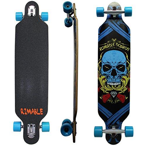 Rimable Drop-through Longboard (41 Inch, Blue Skull)