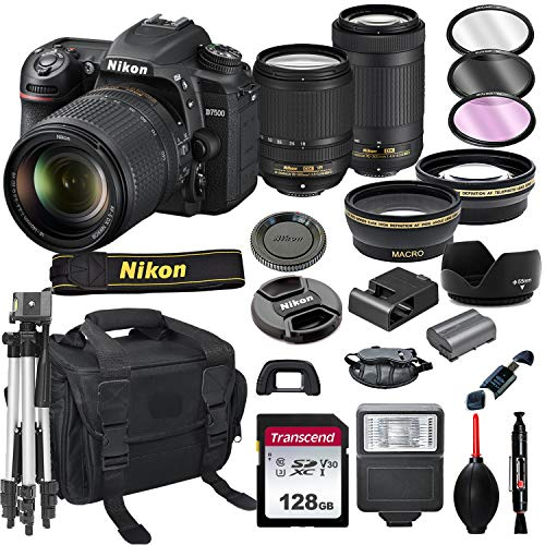 Nikon D7500 DSLR Camera with 18-140mm VR and 70-300mm Lens Bundle + 128GB Card, Tripod, Flash, and More (21pc Bundle)