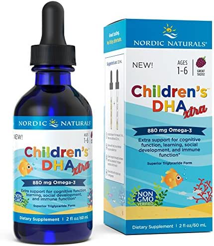 Nordic Naturals Children's DHA Xtra - Berry Flavored Omega-3 Fish Oil Supplement, 2x DHA to EPA Ratio, For Kid's Cognitive Development, Learning, Heart Health and Mood Support*, 2 Ounces