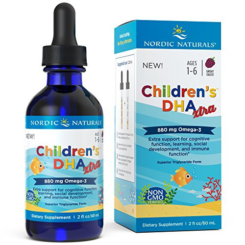 Nordic Naturals Children's DHA Xtra - Berry Flavored Omega-3 Fish Oil Supplement, 2x DHA to EPA Ratio, For Kid's Cognitive Development, Learning, Heart Health and Mood Support*, 2 - Oil Fish Vitamins Flavored