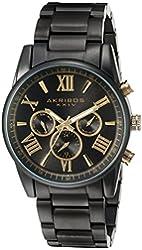 Akribos XXIV Men's Swiss Quartz Multi-Function Gold-Tone Accented Black Sunray Dial with Black Stainless Steel Bracelet Watch AK912BK