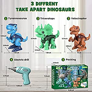 Make sure this fits by entering your model number. ✅【Newest Take Apart Dinosaur Toys】Our building toys include 3 kinds of dinosaur: blue Tyrannosaurus Rex, green Triceratops, brown Velociraptor. Kids can open this dinosaur Kit box and start playing immediately. The multi-color design helps attract children's attention to creative assembly and promotes children's teamwork. ✅【Educational STEM Learning Toy】Simulation design and clear textures of dinosaur toys, enable kids to recognize and explore the world of dinosaurs. Each part is assembled by the children themselves, which can develop their hand-eye coordination and stimulate the imagination of dinosaurs. Let your children fall in love with assembly and dinosaurs!!!