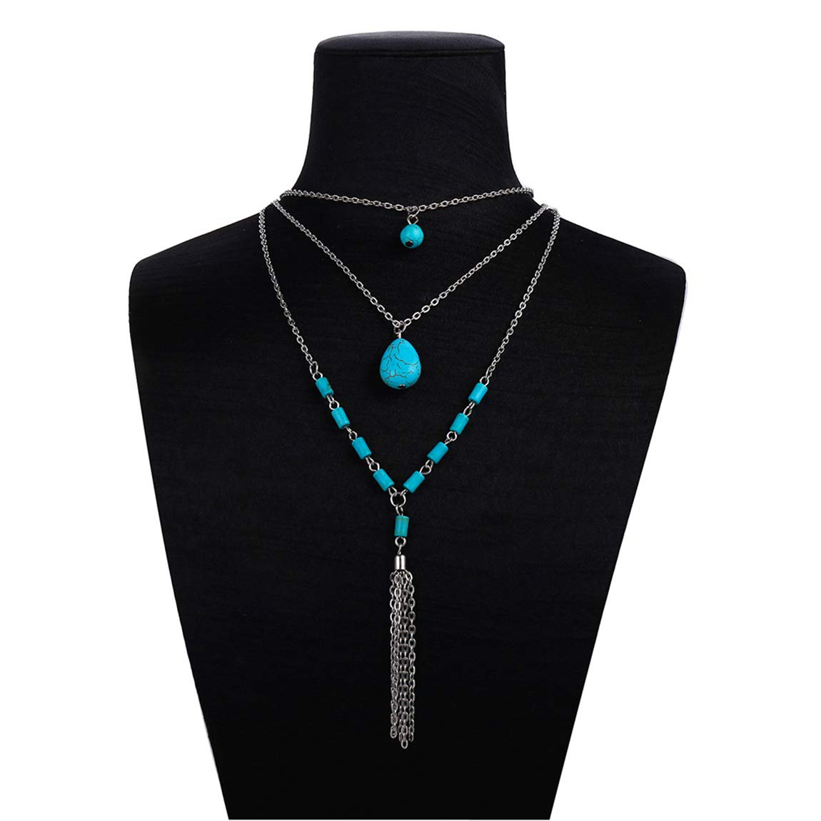 Weiy Bohemian Multilayer Turquoise Tassel Sweater Chain Necklace Women Girls Fahsion Charming Vintage Long Chian Necklace Nice Jewelry Accessories Gift