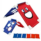 ASNOMY Portable Assemble CornHole Game Set with 6 Bean Bags and Carrying Case - Fun Outdoor or courtyard Kids Cornhole Boards Throwing Games for family - Great for All Ages & Includes Fun Rules