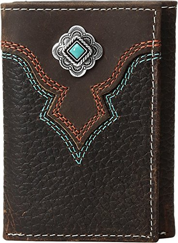 Nocona Men's Trifold Decorative Concho Contrast Stitching Wallet, Medium Brown Distressed, (Nocona Mens Concho)