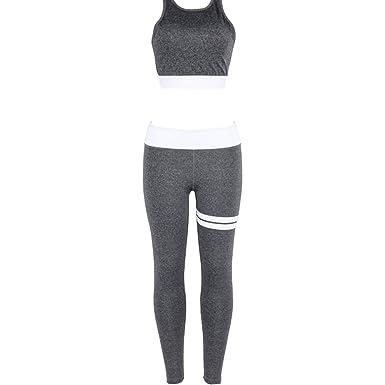 Yefree Vêtements de sport pour femmes Combinaison de sport Ensemble de 2  vêtements de yoga Retour 590dfc0e61b