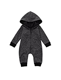 Infant Pajamas Clothes Boys Girls Grey Long Sleeve Zipper Hooded Coverall Outfit
