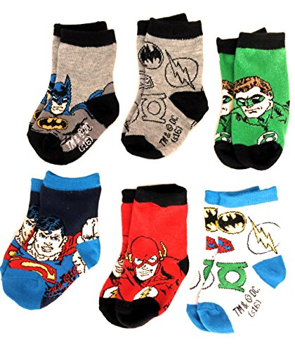 DC Comics Justice League 6 Pack Baby Infant Superhero Crew Socks (Size: 6-12 Mo. / Shoe Size: 3-4, - Shoes Justice League