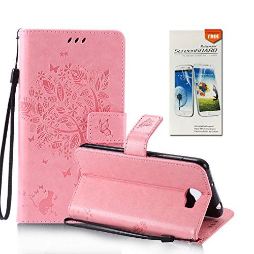 OuDu Funda Huawei Y5 II/Y5 2 Carcasa de Billetera Funda PU Cuero para Huawei Y5 II/Y5 2 Carcasa Suave Protectora con Correas de Teléfono Funda Arbol Flip Wallet Case Cover Bumper Carcasa Flexible Lige