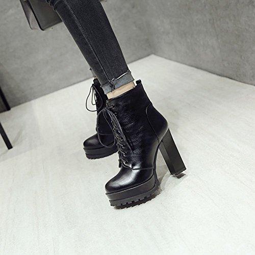 Alto MissSaSa Nero Tacco Donna Elegante Scarpe e Punk col Plateau OOxRn6B