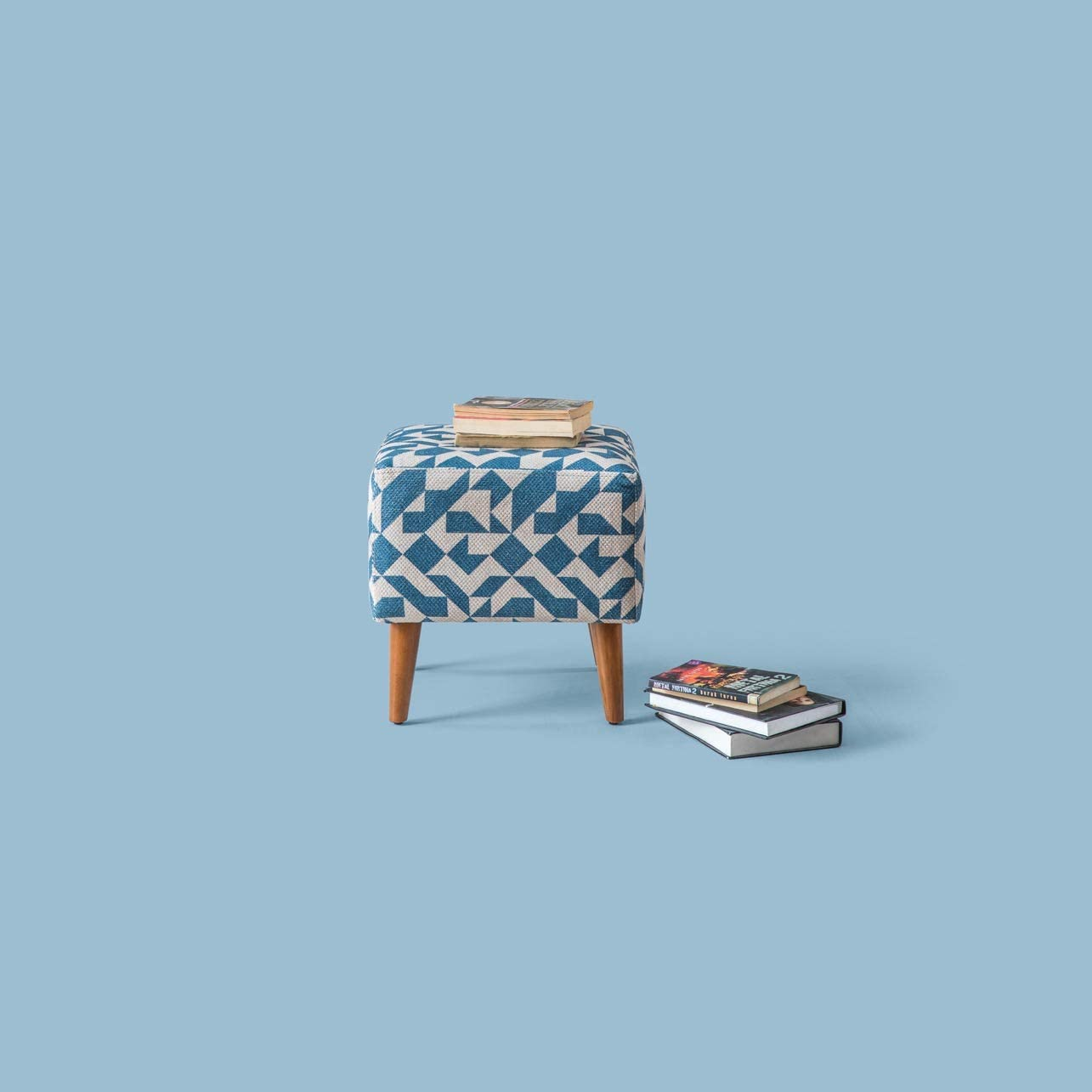 Pyramid Home Decor Mid Century Modern Fabric Ottoman Stool for Vanity - Square Ottoman Seat with Wood Legs - 16.25 x 16.25 x 16.25 Inch Foot Stool Ottoman