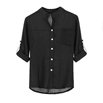 Youngh 2018 New Womens Blouses Shirts Women Solid Plus Size Button Blouses Stand Collar