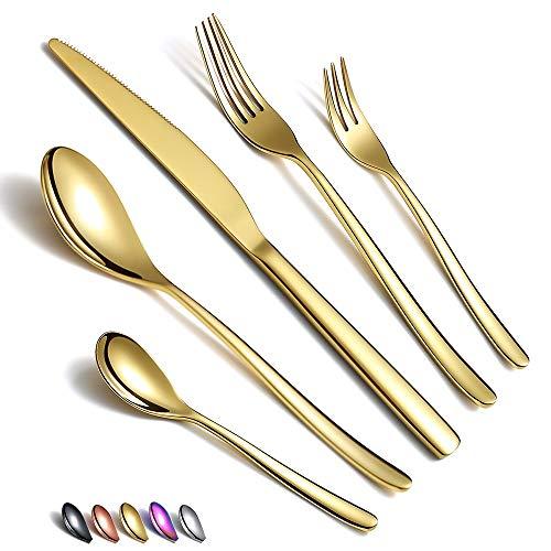 Gouden bestekset 30-delig, roestvrij staal Gouden bestekset, titanium beplating Gouden bestekset, gouden…
