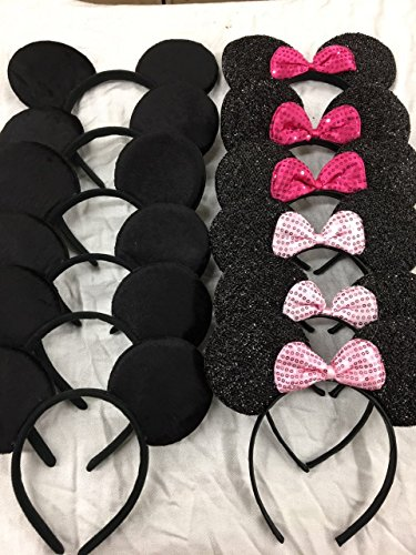Birthday Dress Themes Party Up (Set of 12 Glitter Sequin Pink Minnie Mouse and Mickey Ears_for Dress up Minnie Mouse Theme Birthday, Mickey Mouse)