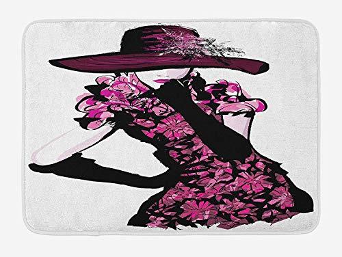 Weeosazg Girls Bath Mat, Woman Figure Furry Hat