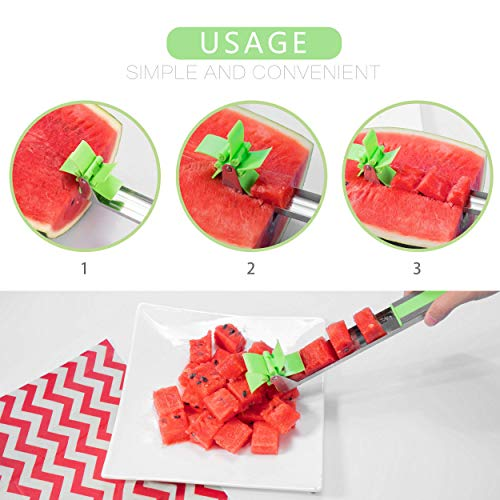 Watermelon Slicer - Stainless Steel Melon Cutter Tool - Ultra-Sharp Blades - Child-Friendly Edges - Practical Hang Hole - Cutting Ruler - User-Friendly & Mess-Free
