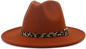 HUDANHUWEI Women's Wide Brim Felt Fedora Panama Hat with Leopard Belt Buckle
