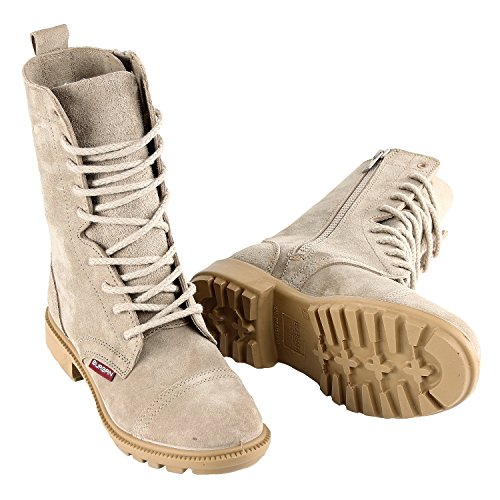 - BURGAN 832 Desert Combat Boot - All Suede Leather with Side Zipper (Unisex) Casual Outdoor for Men and Women (41 (US Mens 8 / Ladies 9), Taupe)