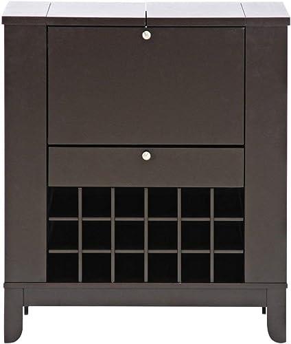 Baxton Studio Modesto Brown Modern Dry Bar and Wine Cabinet